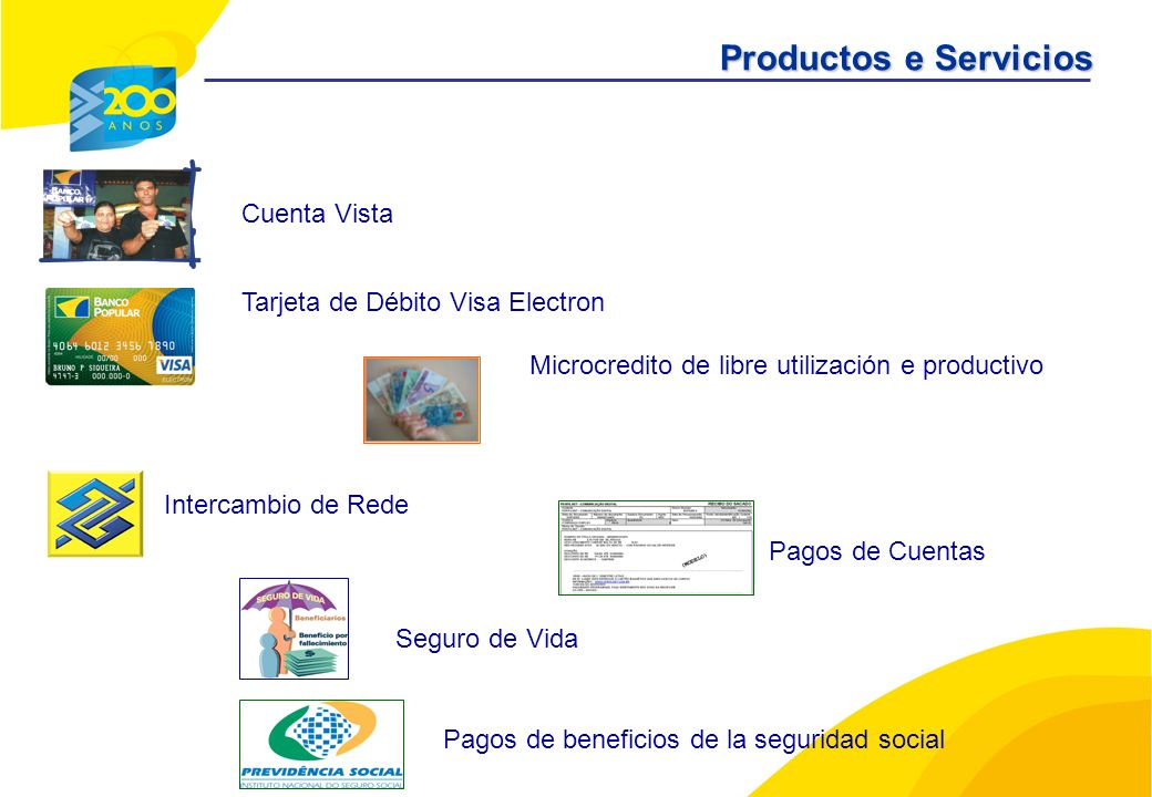 Pagos de Cuentas Seguro de Vida Pagos de beneficios de la seguridad social Microcredito de libre utilización e productivo Cuenta Vista Tarjeta de Débito Visa Electron Intercambio de Rede Productos e Servicios