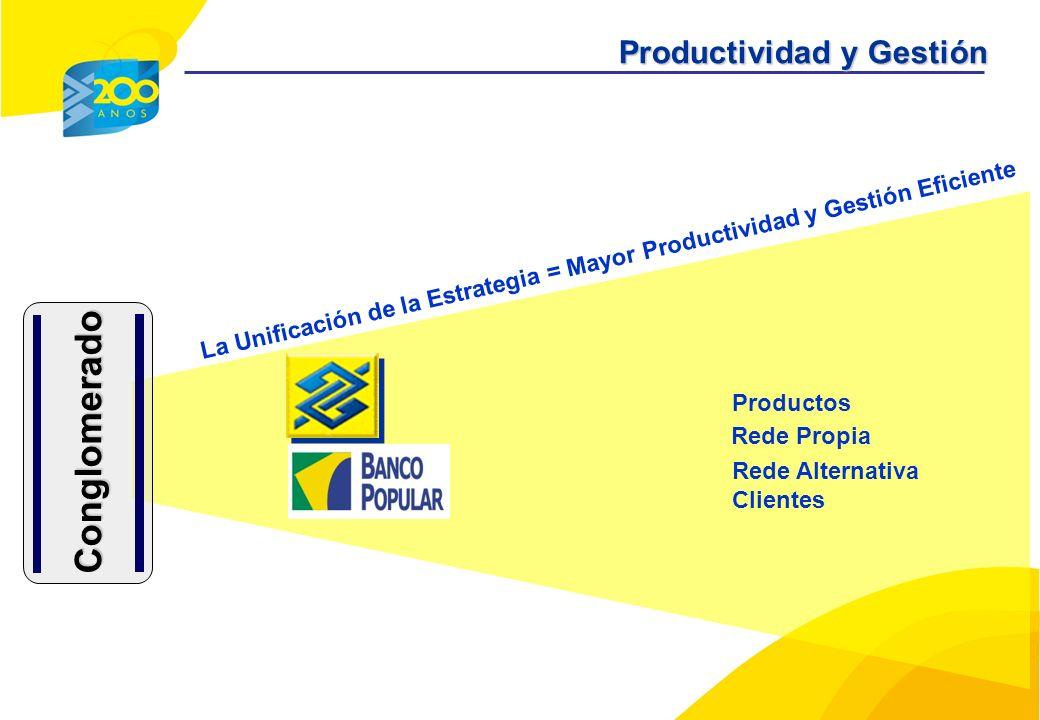 La Unificación de la Estrategia = Mayor Productividad y Gestión Eficiente Productos Rede Propia Rede Alternativa Clientes Conglomerado Productividad y Gestión