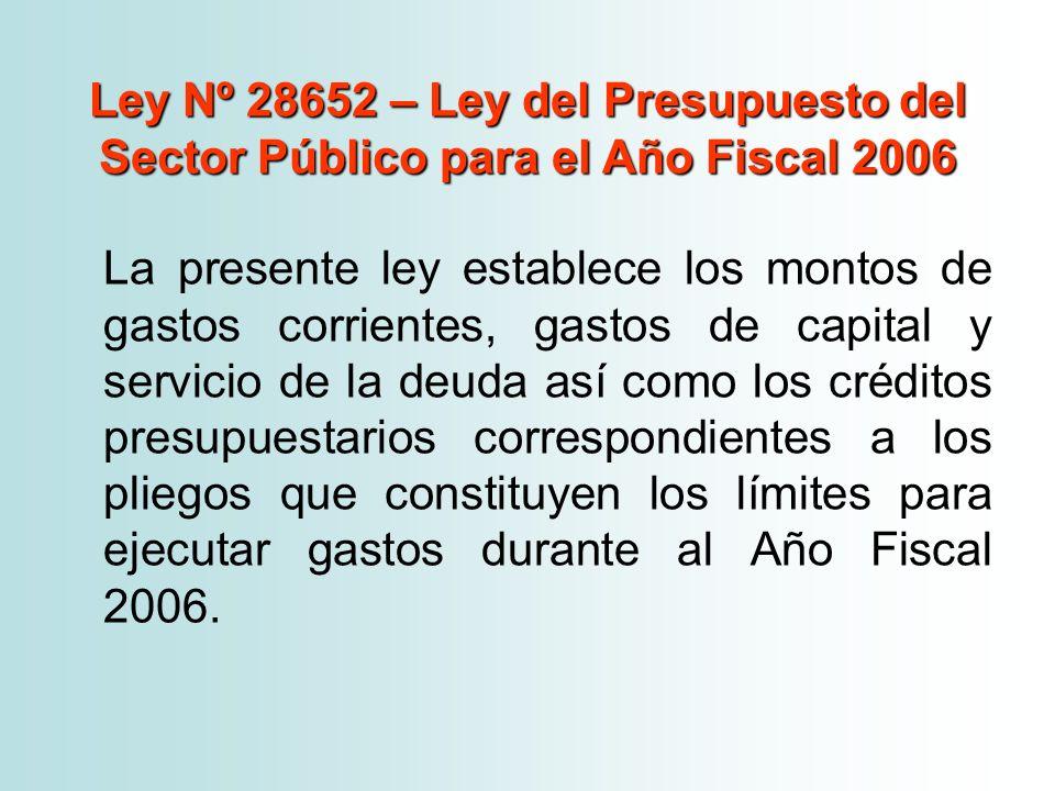 Ley Nº 28652 – Ley del Presupuesto del Sector Público para el Año Fiscal 2006 La presente ley establece los montos de gastos corrientes, gastos de cap