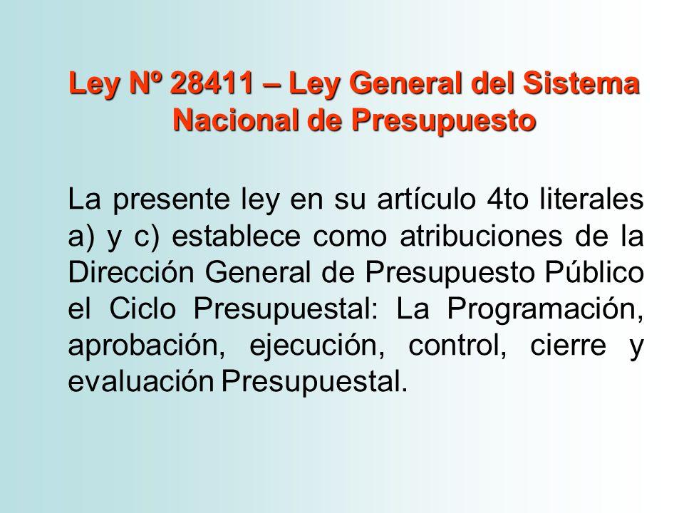 Ley Nº 28411 – Ley General del Sistema Nacional de Presupuesto La presente ley en su artículo 4to literales a) y c) establece como atribuciones de la