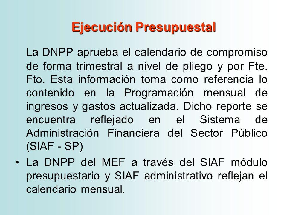 Ejecución Presupuestal La DNPP aprueba el calendario de compromiso de forma trimestral a nivel de pliego y por Fte. Fto. Esta información toma como re