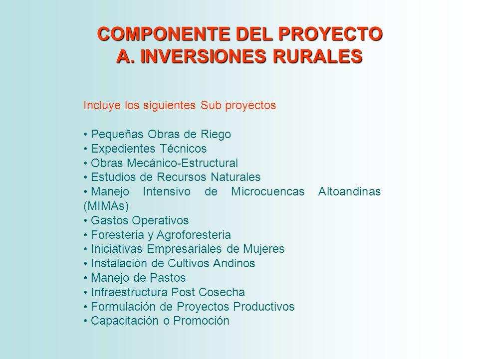 COMPONENTE DEL PROYECTO A. INVERSIONES RURALES Incluye los siguientes Sub proyectos Pequeñas Obras de Riego Expedientes Técnicos Obras Mecánico-Estruc