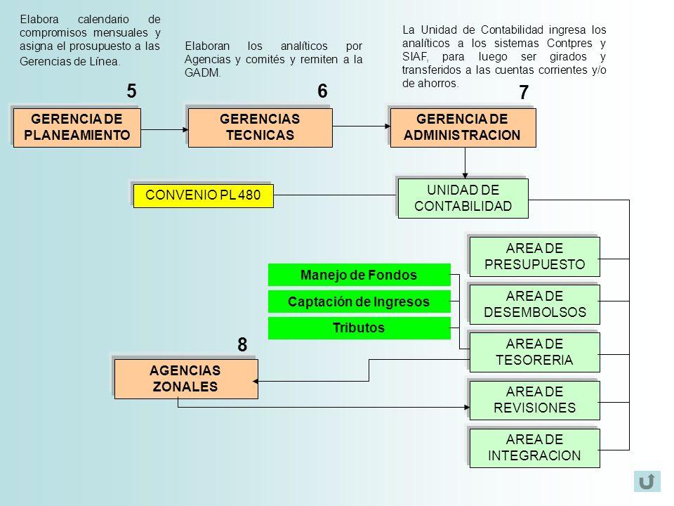 GERENCIA DE PLANEAMIENTO GERENCIAS TECNICAS Elaboran los analíticos por Agencias y comités y remiten a la GADM. Elabora calendario de compromisos mens