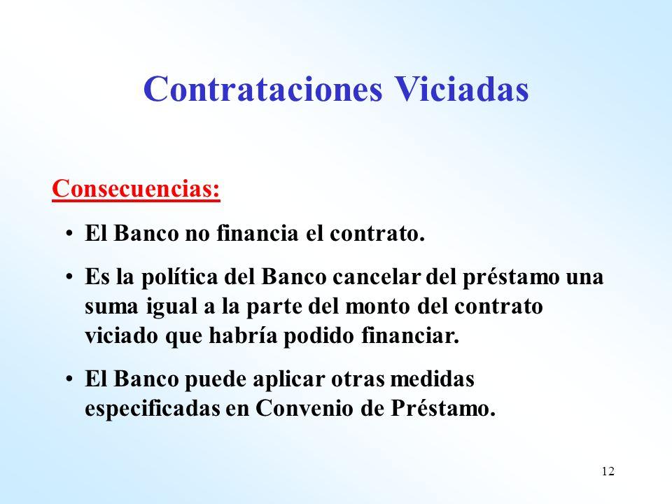 12 Consecuencias: El Banco no financia el contrato. Es la política del Banco cancelar del préstamo una suma igual a la parte del monto del contrato vi