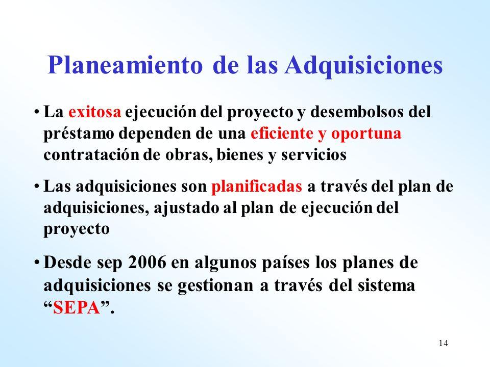 14 La exitosa ejecución del proyecto y desembolsos del préstamo dependen de una eficiente y oportuna contratación de obras, bienes y servicios Las adq