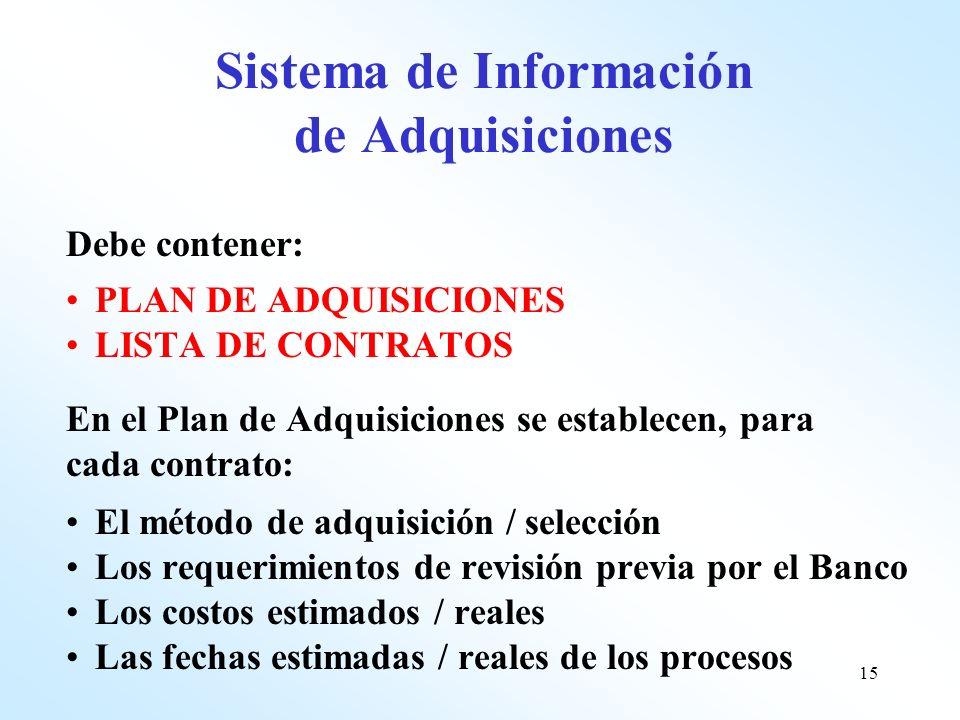 15 Sistema de Información de Adquisiciones Debe contener: PLAN DE ADQUISICIONES LISTA DE CONTRATOS En el Plan de Adquisiciones se establecen, para cad