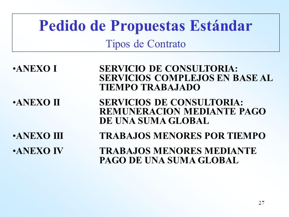 27 ANEXO ISERVICIO DE CONSULTORIA: SERVICIOS COMPLEJOS EN BASE AL TIEMPO TRABAJADO ANEXO IISERVICIOS DE CONSULTORIA: REMUNERACION MEDIANTE PAGO DE UNA