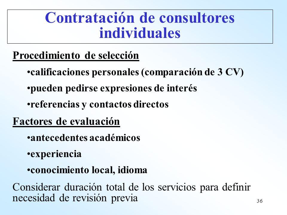 36 Procedimiento de selección calificaciones personales (comparación de 3 CV) pueden pedirse expresiones de interés referencias y contactos directos F