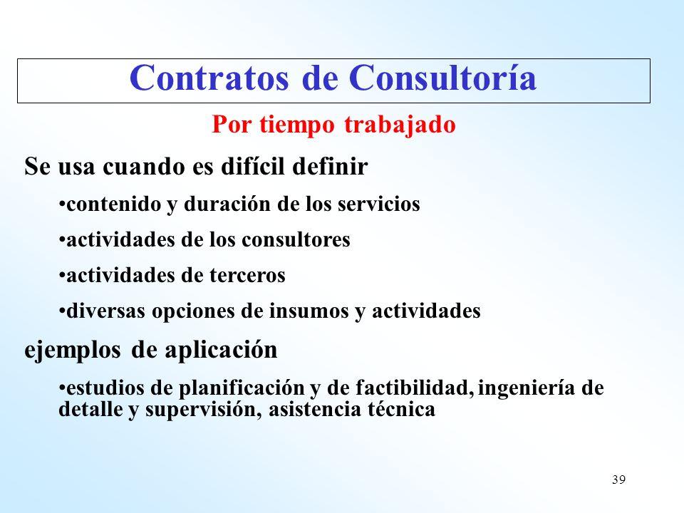 39 Por tiempo trabajado Se usa cuando es difícil definir contenido y duración de los servicios actividades de los consultores actividades de terceros