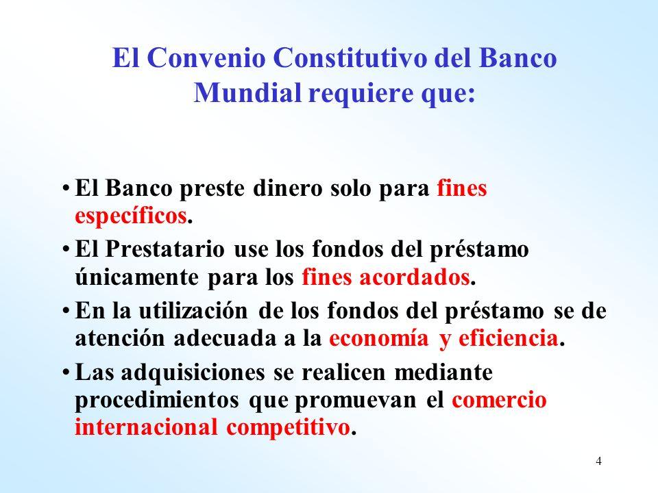 4 El Convenio Constitutivo del Banco Mundial requiere que: El Banco preste dinero solo para fines específicos. El Prestatario use los fondos del prést