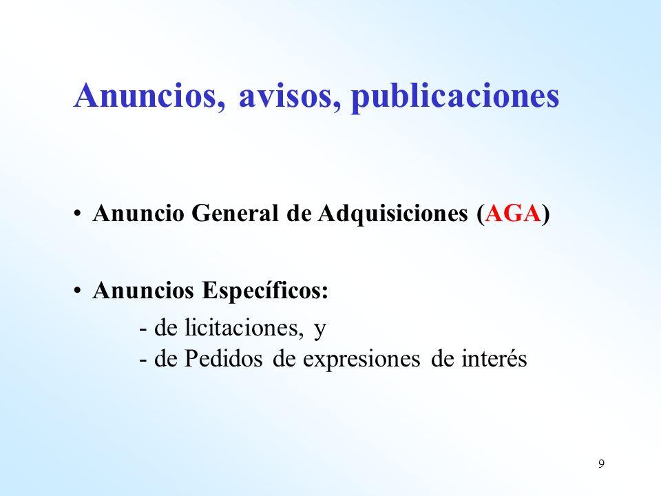 9 Anuncios, avisos, publicaciones Anuncio General de Adquisiciones (AGA) Anuncios Específicos: - de licitaciones, y - de Pedidos de expresiones de int