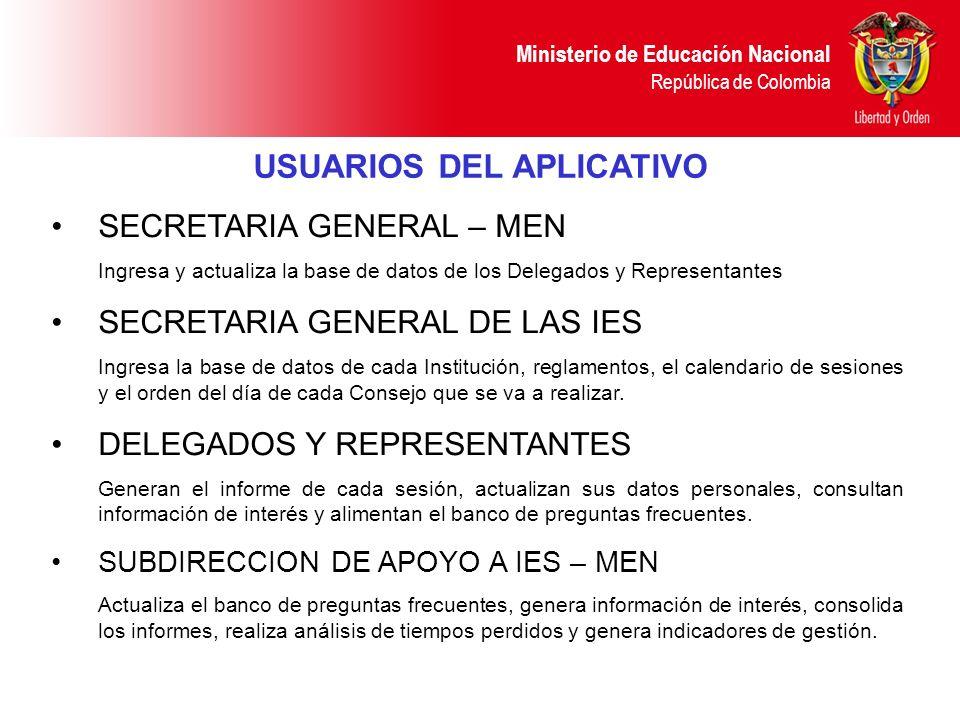 Ministerio de Educación Nacional República de Colombia SECRETARIA GENERAL – MEN Ingresa y actualiza la base de datos de los Delegados y Representantes SECRETARIA GENERAL DE LAS IES Ingresa la base de datos de cada Institución, reglamentos, el calendario de sesiones y el orden del día de cada Consejo que se va a realizar.