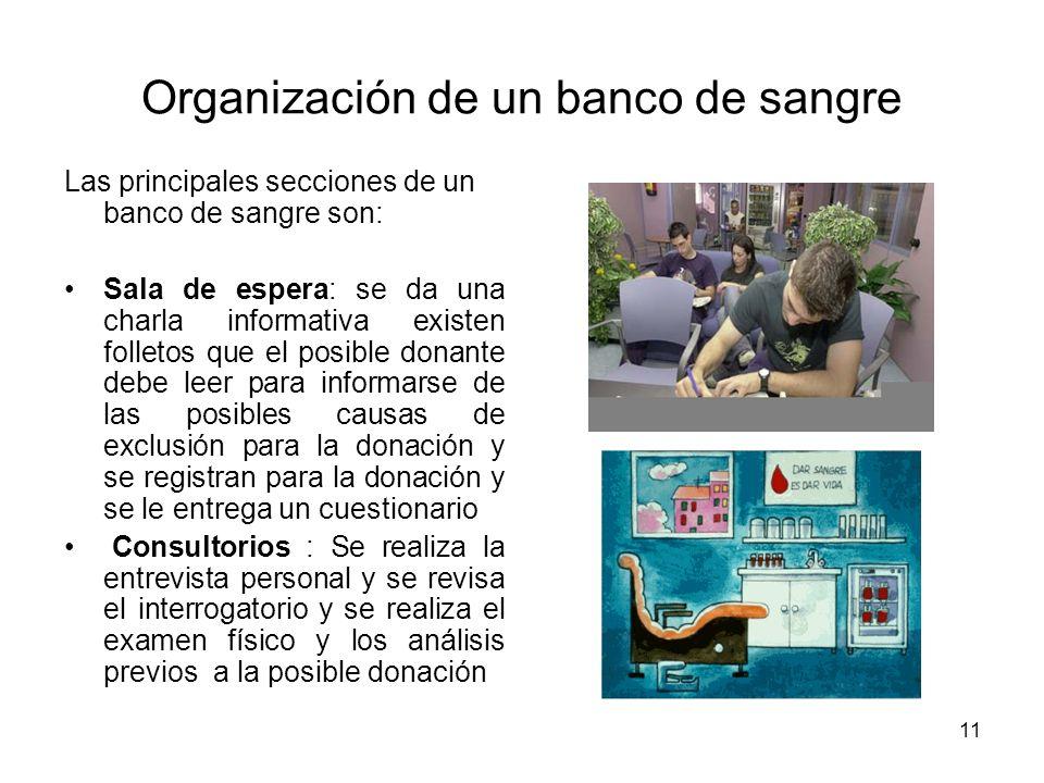 11 Organización de un banco de sangre Las principales secciones de un banco de sangre son: Sala de espera: se da una charla informativa existen follet