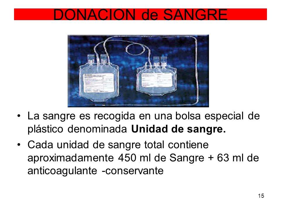 15 DONACION de SANGRE La sangre es recogida en una bolsa especial de plástico denominada Unidad de sangre. Cada unidad de sangre total contiene aproxi