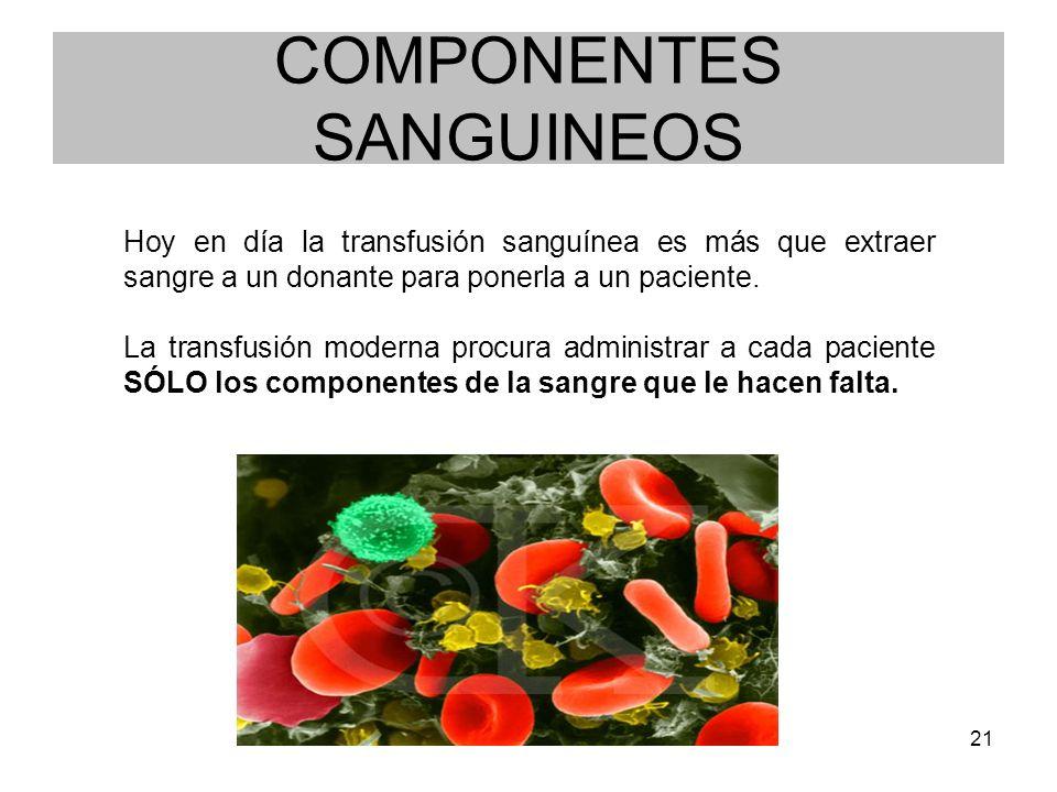 21 COMPONENTES SANGUINEOS Hoy en día la transfusión sanguínea es más que extraer sangre a un donante para ponerla a un paciente. La transfusión modern