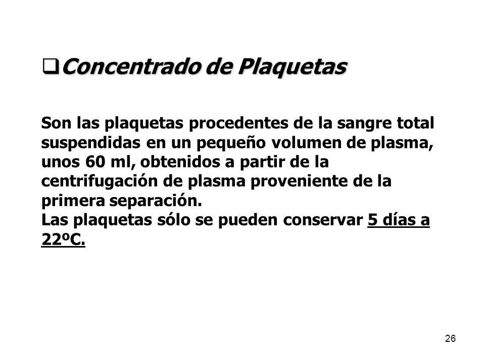 26 Concentrado de Plaquetas Concentrado de Plaquetas Son las plaquetas procedentes de la sangre total suspendidas en un pequeño volumen de plasma, uno