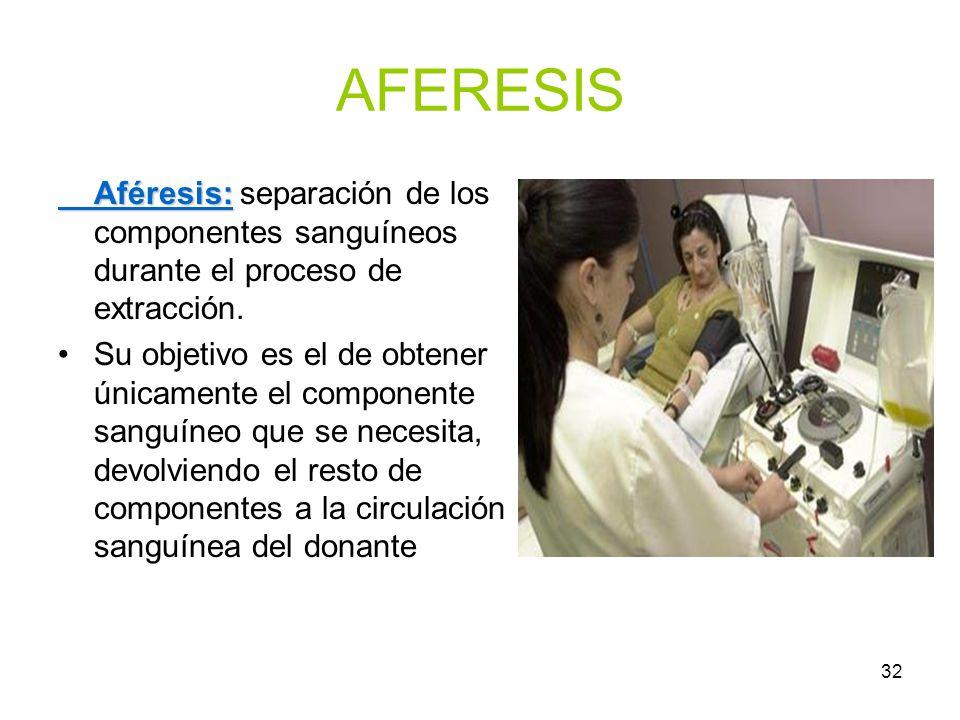 32 AFERESIS Aféresis: Aféresis: separación de los componentes sanguíneos durante el proceso de extracción. Su objetivo es el de obtener únicamente el