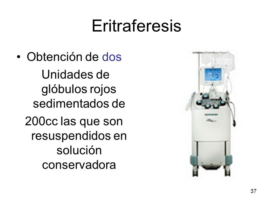 Eritraferesis Obtención de dos Unidades de glóbulos rojos sedimentados de 200cc las que son resuspendidos en solución conservadora 37