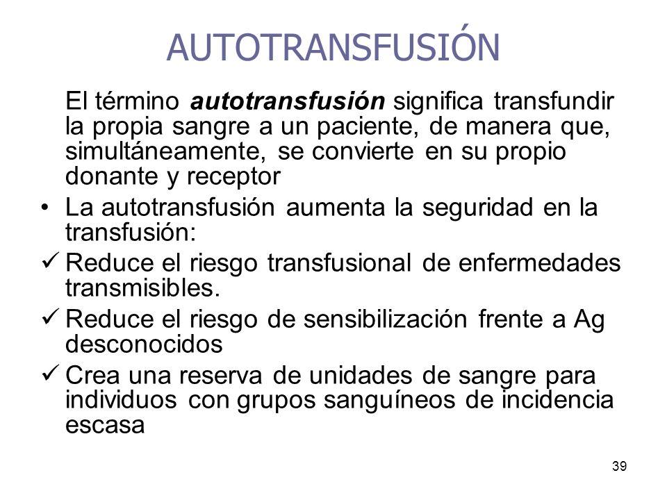 39 AUTOTRANSFUSIÓN El término autotransfusión significa transfundir la propia sangre a un paciente, de manera que, simultáneamente, se convierte en su