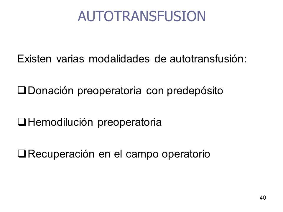 40 AUTOTRANSFUSION Existen varias modalidades de autotransfusión: Donación preoperatoria con predepósito Hemodilución preoperatoria Recuperación en el