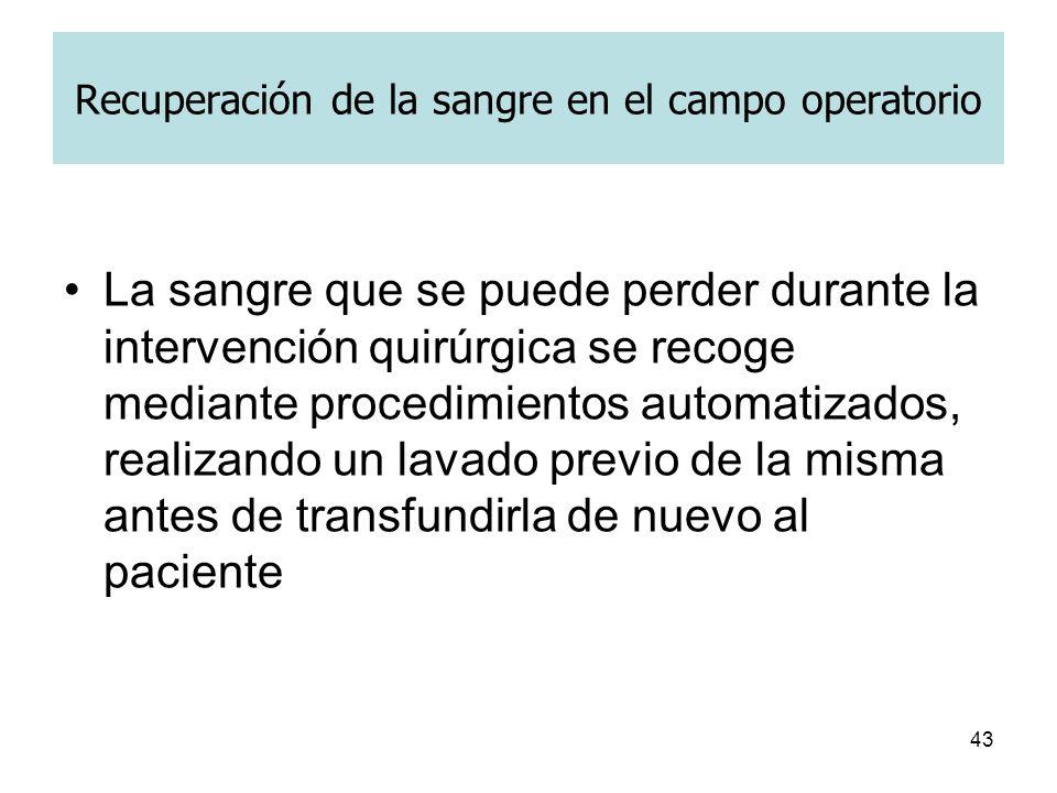 43 Recuperación de la sangre en el campo operatorio La sangre que se puede perder durante la intervención quirúrgica se recoge mediante procedimientos