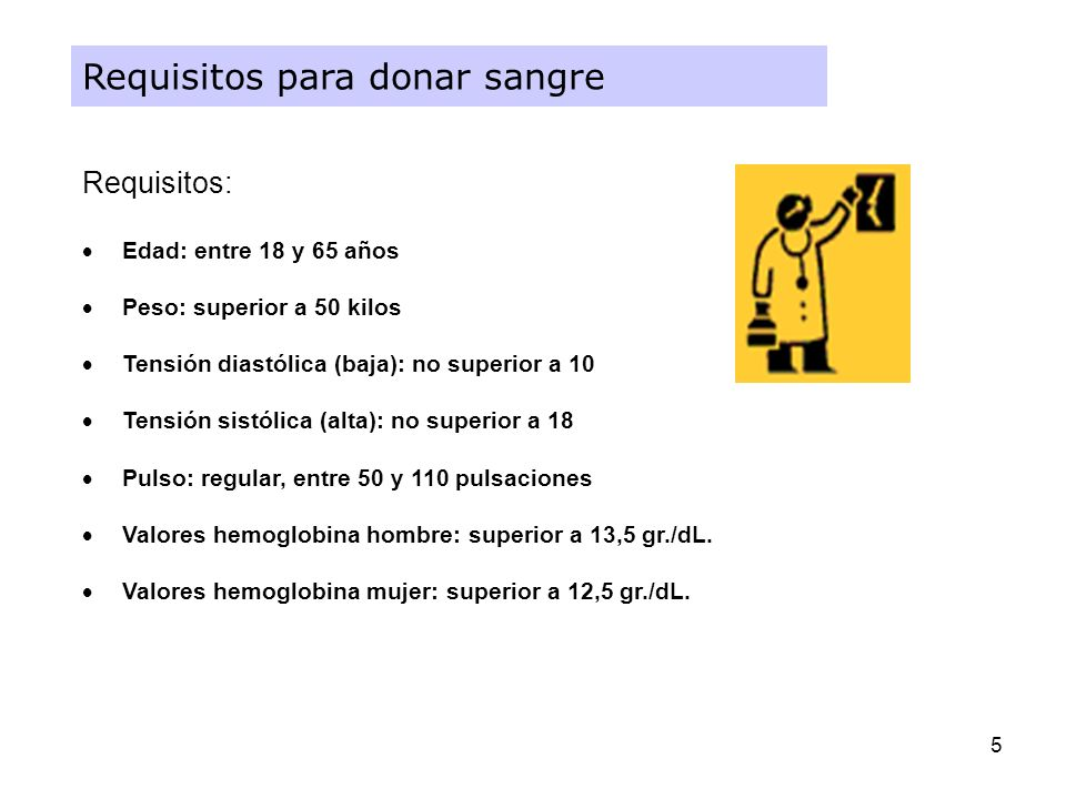 5 Requisitos para donar sangre Requisitos: Edad: entre 18 y 65 años Peso: superior a 50 kilos Tensión diastólica (baja): no superior a 10 Tensión sist