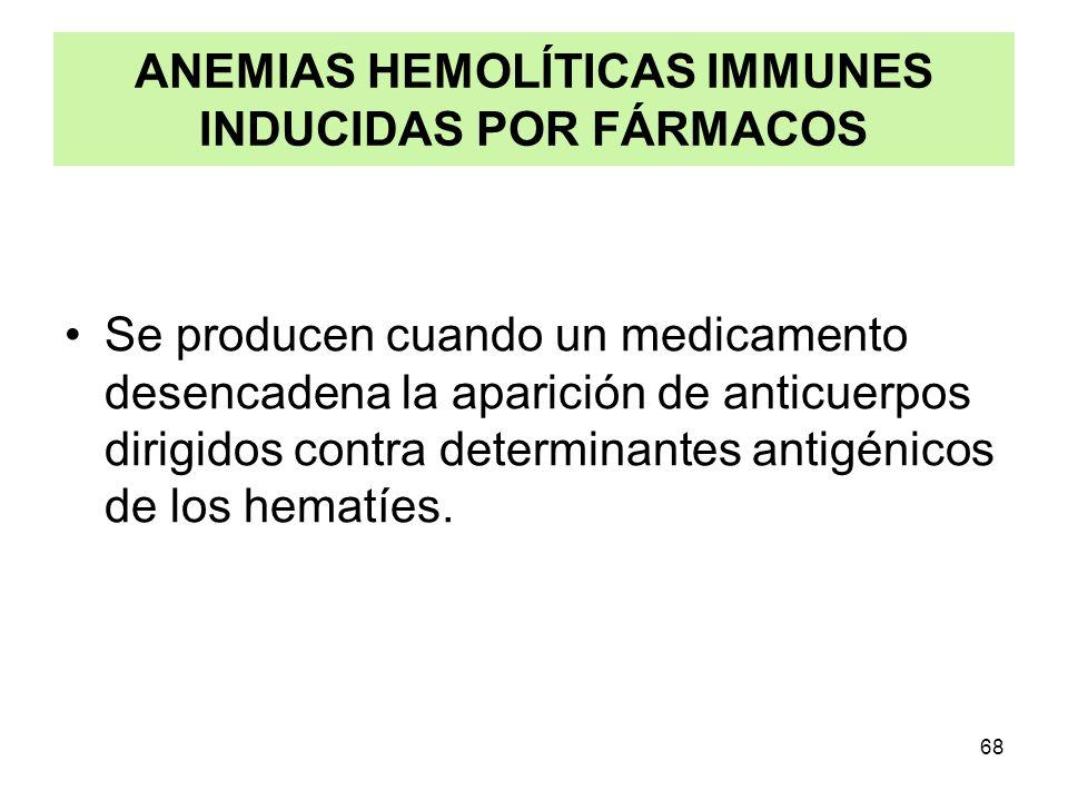 68 ANEMIAS HEMOLÍTICAS IMMUNES INDUCIDAS POR FÁRMACOS Se producen cuando un medicamento desencadena la aparición de anticuerpos dirigidos contra deter