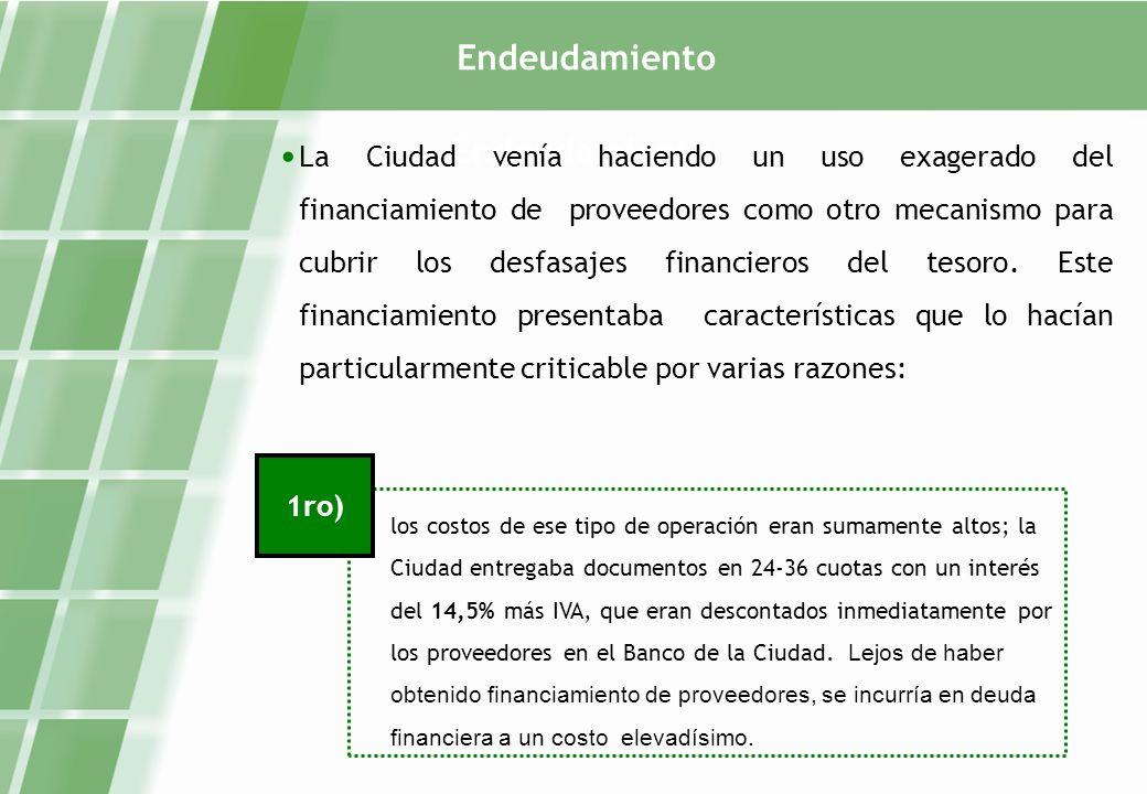 Endeudamiento La Ciudad venía haciendo un uso exagerado del financiamiento de proveedores como otro mecanismo para cubrir los desfasajes financieros del tesoro.
