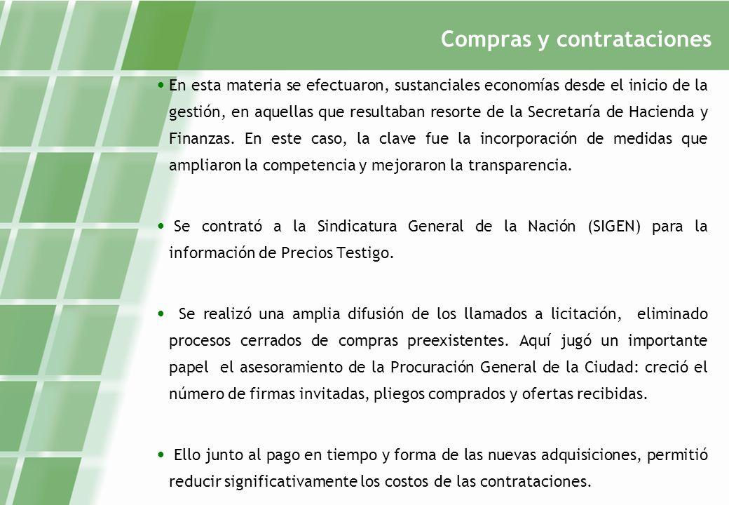 Compras y contrataciones En esta materia se efectuaron, sustanciales economías desde el inicio de la gestión, en aquellas que resultaban resorte de la Secretaría de Hacienda y Finanzas.