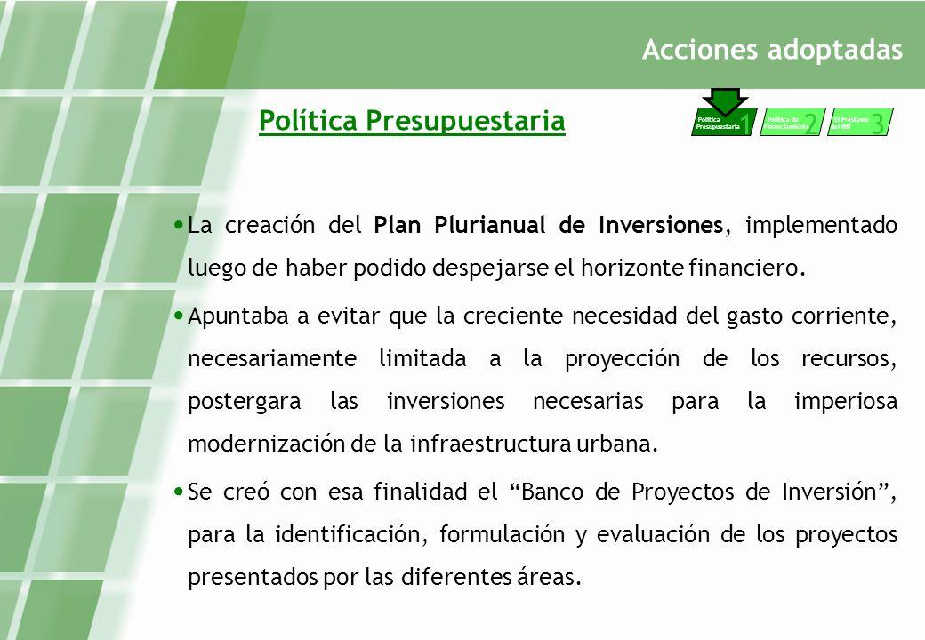 Acciones adoptadas Política Presupuestaria La creación del Plan Plurianual de Inversiones, implementado luego de haber podido despejarse el horizonte financiero.