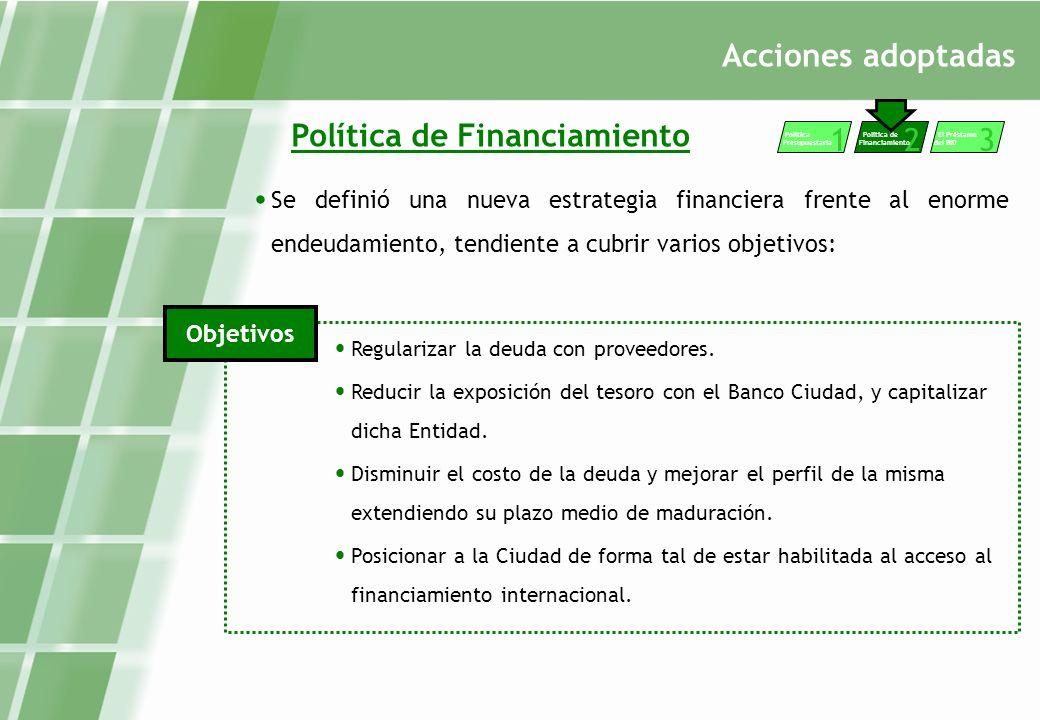 Acciones adoptadas Política de Financiamiento Se definió una nueva estrategia financiera frente al enorme endeudamiento, tendiente a cubrir varios objetivos: Objetivos Regularizar la deuda con proveedores.