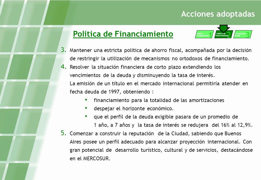 Acciones adoptadas Política de Financiamiento 3.