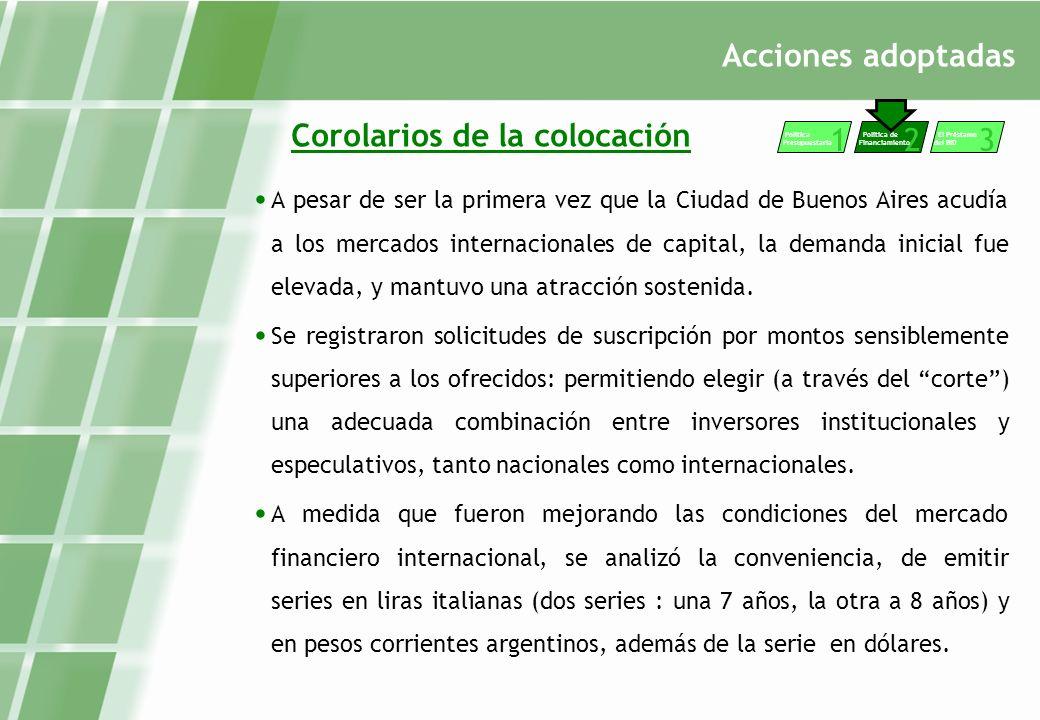 Acciones adoptadas Corolarios de la colocación A pesar de ser la primera vez que la Ciudad de Buenos Aires acudía a los mercados internacionales de capital, la demanda inicial fue elevada, y mantuvo una atracción sostenida.