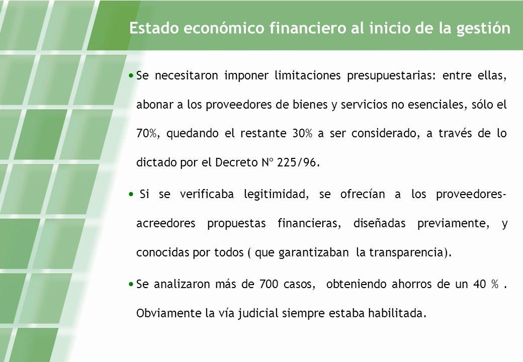 Estado económico financiero al inicio de la gestión Se necesitaron imponer limitaciones presupuestarias: entre ellas, abonar a los proveedores de bienes y servicios no esenciales, sólo el 70%, quedando el restante 30% a ser considerado, a través de lo dictado por el Decreto Nº 225/96.