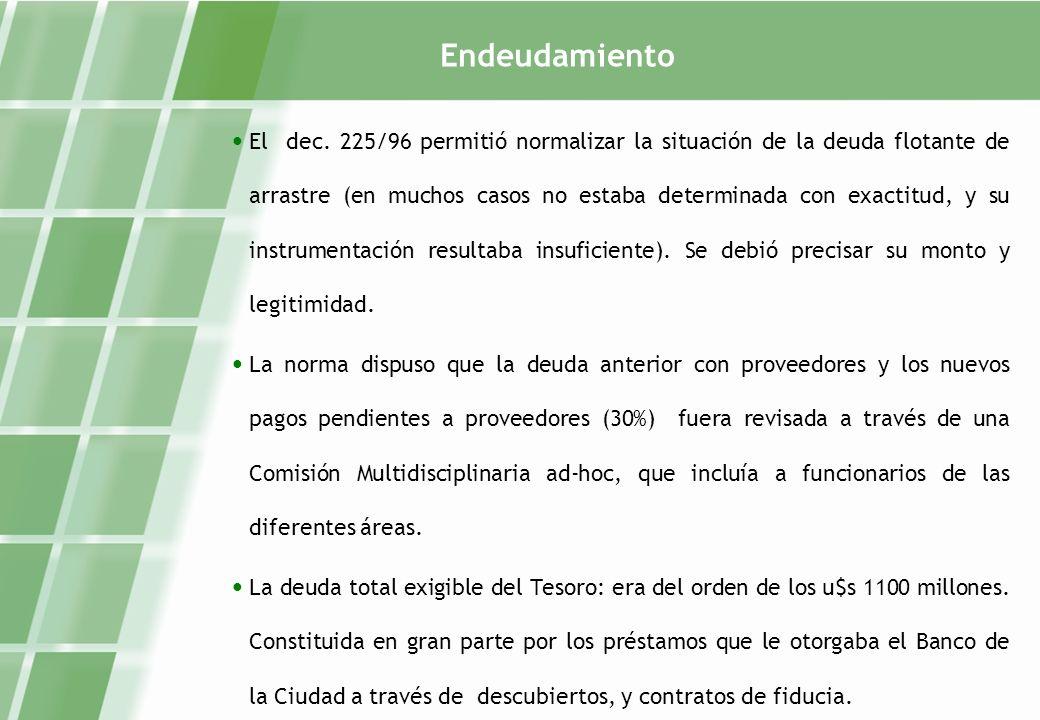 Endeudamiento Las fiducias consistían en la entrega de pagarés a los proveedores de la Ciudad, los cuales eran descontados por el Banco Ciudad, con cierta rapidez.