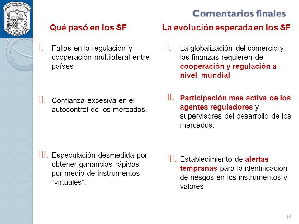 Comentarios finales I. Fallas en la regulación y cooperación multilateral entre países II.