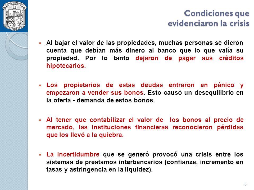 La expansión de la crisis Fuente: Banxico Reporte sobre el Sistema Financiero I.