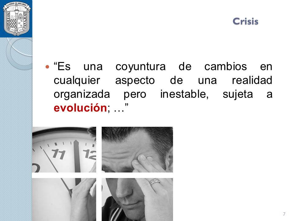 Crisis Es una coyuntura de cambios en cualquier aspecto de una realidad organizada pero inestable, sujeta a evolución; … 7