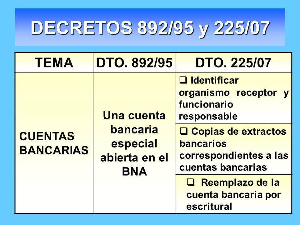 DECRETOS 892/95 y 225/07 TEMADTO. 892/95DTO. 225/07 CUENTAS BANCARIAS Una cuenta bancaria especial abierta en el BNA Identificar organismo receptor y