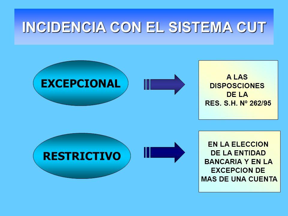 INCIDENCIA CON EL SISTEMA CUT EXCEPCIONAL RESTRICTIVO A LAS DISPOSCIONES DE LA RES. S.H. Nº 262/95 EN LA ELECCION DE LA ENTIDAD BANCARIA Y EN LA EXCEP