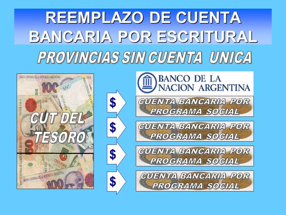 REEMPLAZO DE CUENTA BANCARIA POR ESCRITURAL $ $ $ $