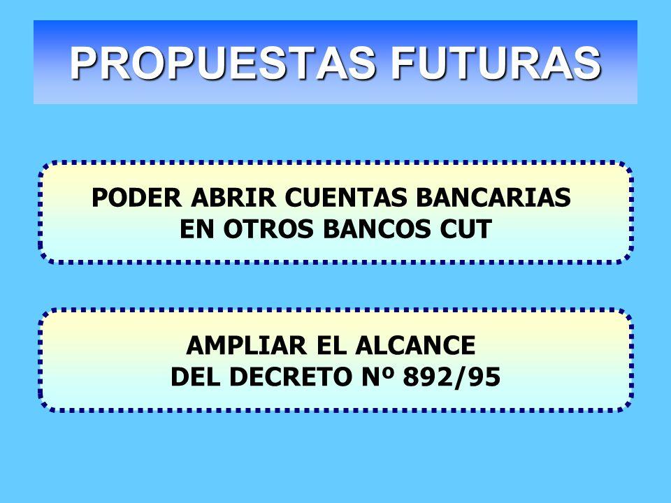 PROPUESTAS FUTURAS PODER ABRIR CUENTAS BANCARIAS EN OTROS BANCOS CUT AMPLIAR EL ALCANCE DEL DECRETO Nº 892/95