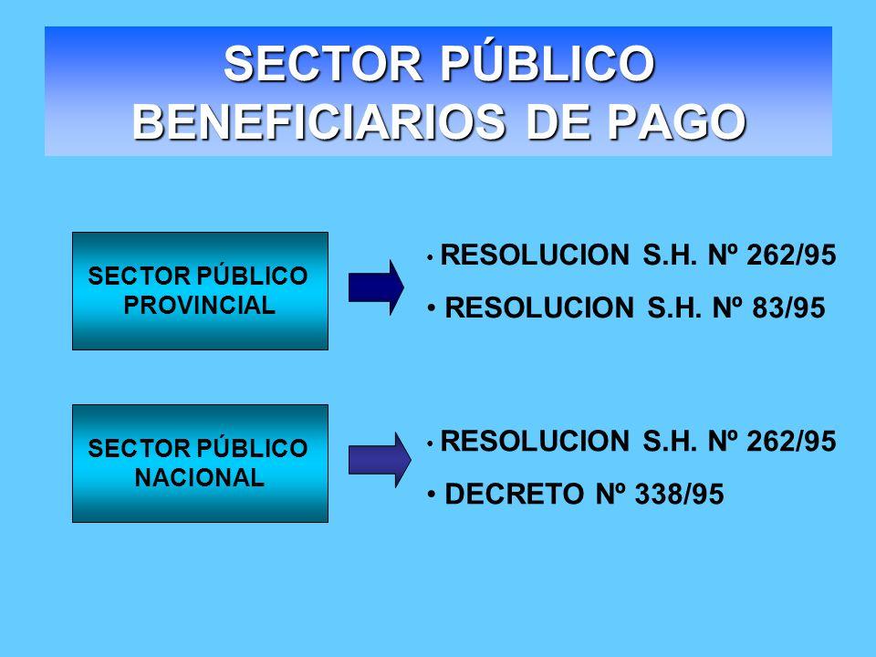 SECTOR PÚBLICO BENEFICIARIOS DE PAGO RESOLUCION S.H. Nº 262/95 RESOLUCION S.H. Nº 83/95 RESOLUCION S.H. Nº 262/95 DECRETO Nº 338/95 SECTOR PÚBLICO PRO