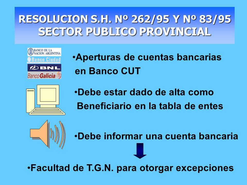 RESOLUCION S.H. Nº 262/95 Y Nº 83/95 SECTOR PUBLICO PROVINCIAL Debe estar dado de alta como Beneficiario en la tabla de entes Debe informar una cuenta
