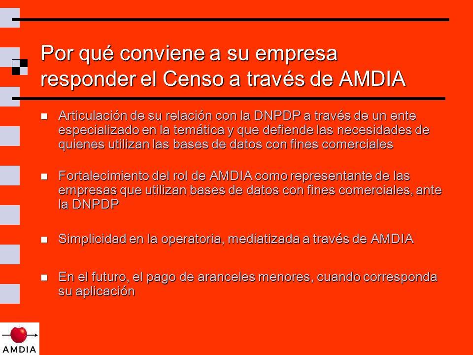 Por qué conviene a su empresa responder el Censo a través de AMDIA Articulación de su relación con la DNPDP a través de un ente especializado en la temática y que defiende las necesidades de quienes utilizan las bases de datos con fines comerciales Articulación de su relación con la DNPDP a través de un ente especializado en la temática y que defiende las necesidades de quienes utilizan las bases de datos con fines comerciales Fortalecimiento del rol de AMDIA como representante de las empresas que utilizan bases de datos con fines comerciales, ante la DNPDP Fortalecimiento del rol de AMDIA como representante de las empresas que utilizan bases de datos con fines comerciales, ante la DNPDP Simplicidad en la operatoria, mediatizada a través de AMDIA Simplicidad en la operatoria, mediatizada a través de AMDIA En el futuro, el pago de aranceles menores, cuando corresponda su aplicación En el futuro, el pago de aranceles menores, cuando corresponda su aplicación