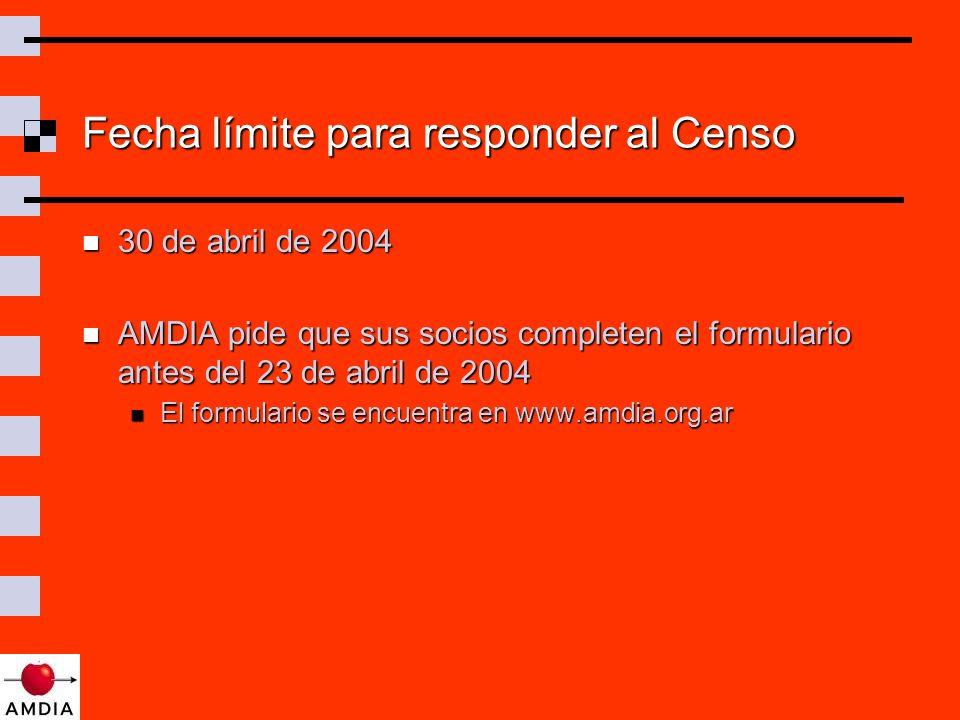 Fecha límite para responder al Censo 30 de abril de 2004 30 de abril de 2004 AMDIA pide que sus socios completen el formulario antes del 23 de abril de 2004 AMDIA pide que sus socios completen el formulario antes del 23 de abril de 2004 El formulario se encuentra en www.amdia.org.ar El formulario se encuentra en www.amdia.org.ar