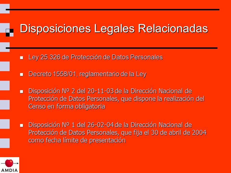 Disposiciones Legales Relacionadas Ley 25.326 de Protección de Datos Personales Ley 25.326 de Protección de Datos Personales Decreto 1558/01, reglamentario de la Ley Decreto 1558/01, reglamentario de la Ley Disposición Nº 2 del 20-11-03 de la Dirección Nacional de Protección de Datos Personales, que dispone la realización del Censo en forma obligatoria Disposición Nº 2 del 20-11-03 de la Dirección Nacional de Protección de Datos Personales, que dispone la realización del Censo en forma obligatoria Disposición Nº 1 del 26-02-04 de la Dirección Nacional de Protección de Datos Personales, que fija el 30 de abril de 2004 como fecha límite de presentación Disposición Nº 1 del 26-02-04 de la Dirección Nacional de Protección de Datos Personales, que fija el 30 de abril de 2004 como fecha límite de presentación
