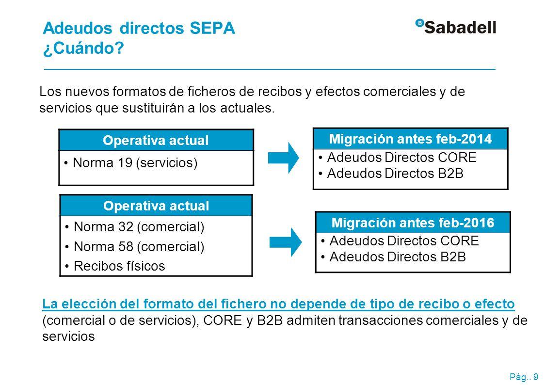 Pág.. 9 Adeudos directos SEPA ¿Cuándo? Los nuevos formatos de ficheros de recibos y efectos comerciales y de servicios que sustituirán a los actuales.