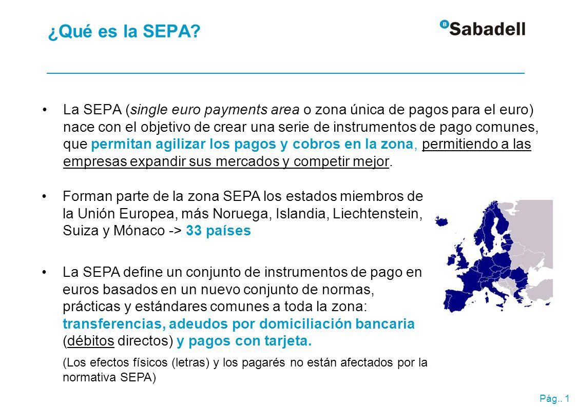 Pág.. 1 ¿Qué es la SEPA? La SEPA (single euro payments area o zona única de pagos para el euro) nace con el objetivo de crear una serie de instrumento