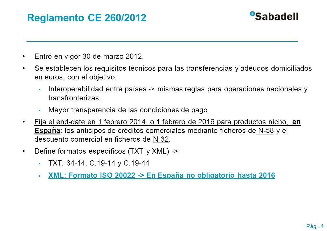 Pág.. 4 Reglamento CE 260/2012 Entró en vigor 30 de marzo 2012. Se establecen los requisitos técnicos para las transferencias y adeudos domiciliados e
